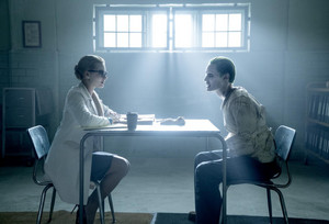Suicide Squad Stills - Margot Robbie as Dr. Harleen Quinzel and Jared Leto as The Joker