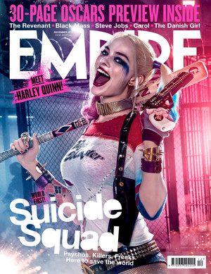 Suicide Squad's Empire Magazine Cover featuring Margot Robbie as Harley Quinn- December 2015