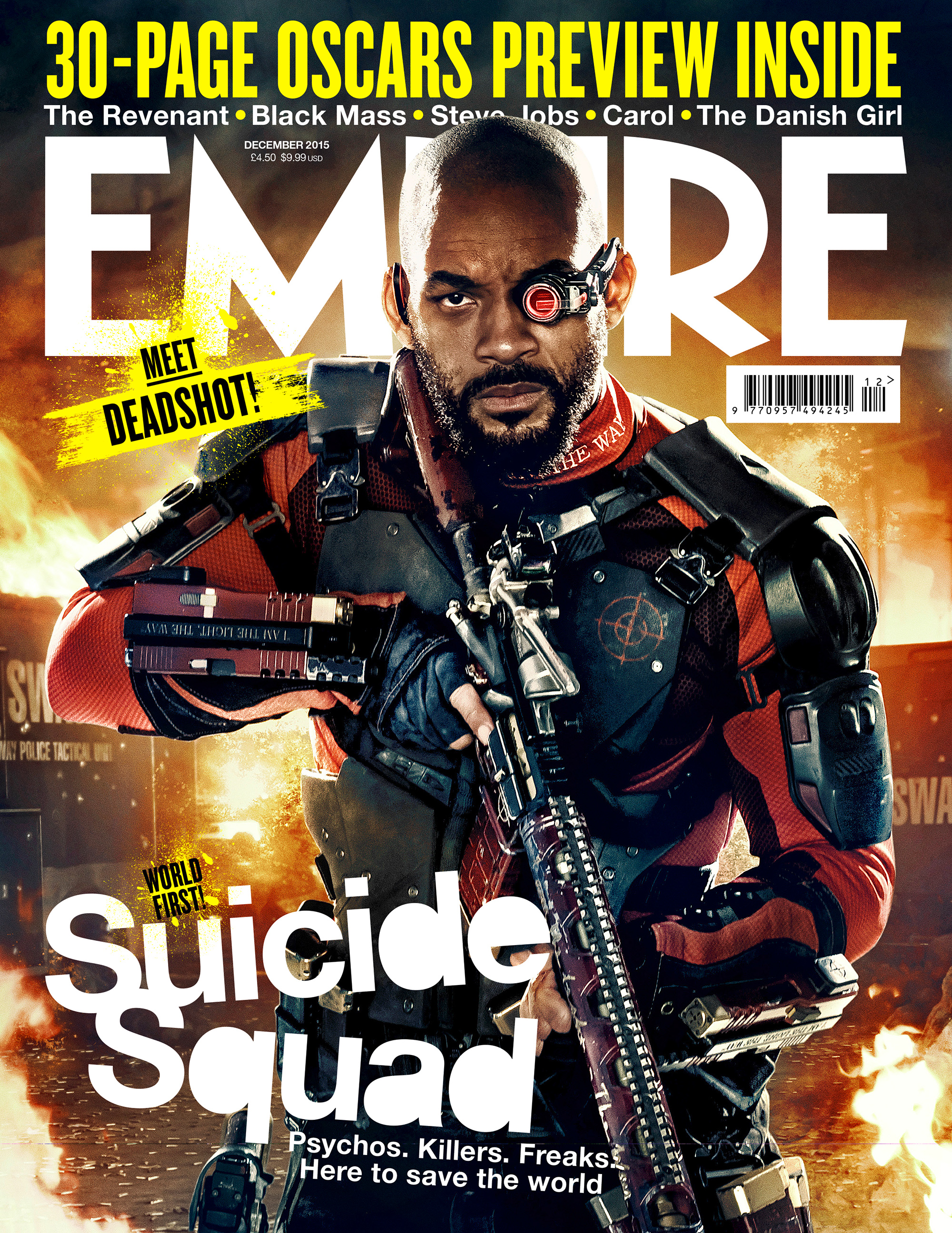 Suicide Squad's Empire Magazine Cover featuring Will Smith as Deadshot - December 2015