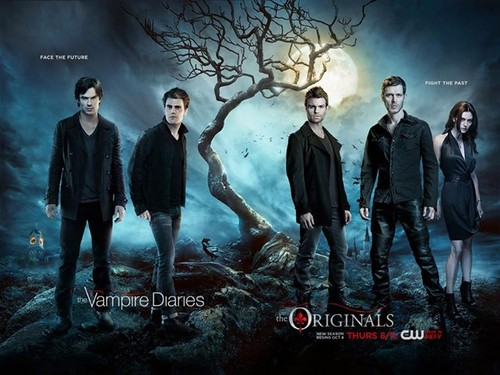 The Vampire Diaries TV tunjuk kertas dinding with a business suit called The Vampire Diaries Season 7 and The Originals Season 3 official poster