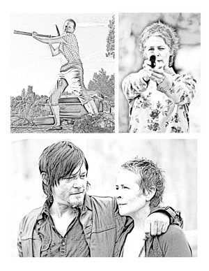 The Walking Dead - Coloring Pages - Carol and Daryl