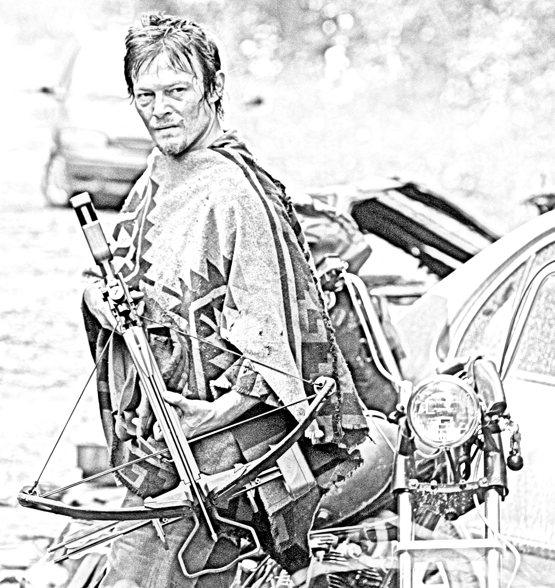 walking dead coloring pages The Walking Dead Bilder The Walking Dead   Coloring Pages   Daryl  walking dead coloring pages