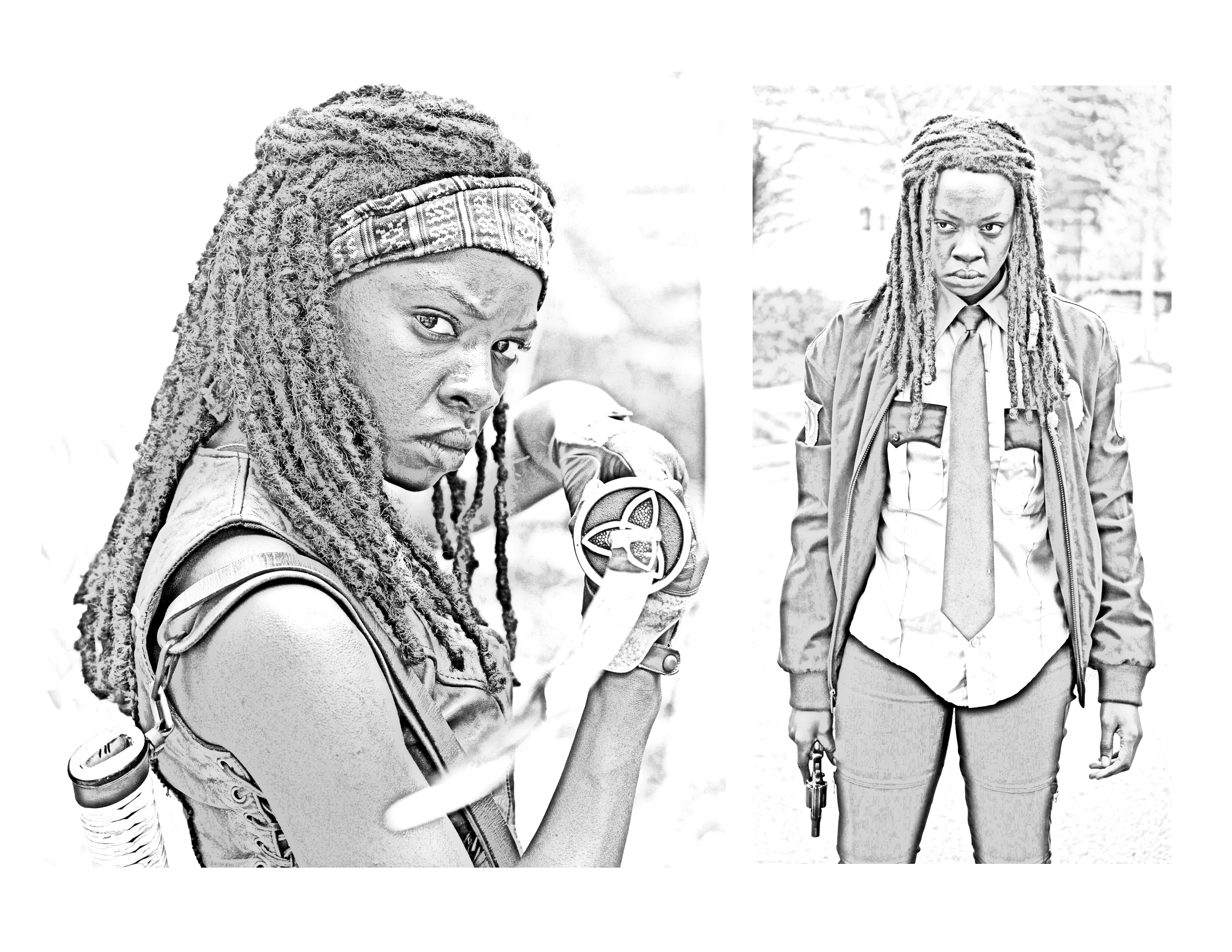 The Walking Dead Coloring Pages Michonne The Walking