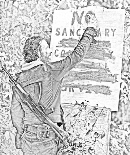 The Walking Dead karatasi la kupamba ukuta containing a sign and a mitaani, mtaa titled The Walking Dead - Coloring Pages - Rick