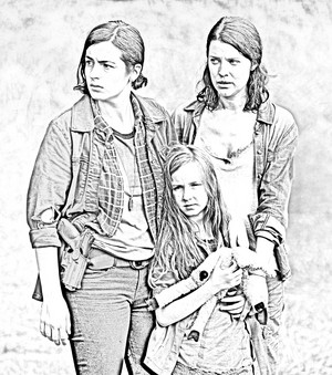 The Walking Dead - Coloring Pages - Tara, Lily and Meghan