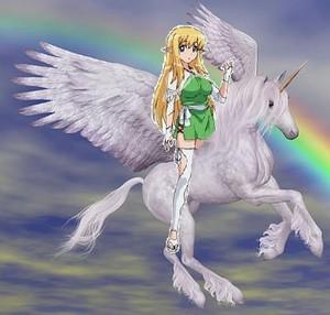 Tiffania riding her Beautiful Winged Unicorn