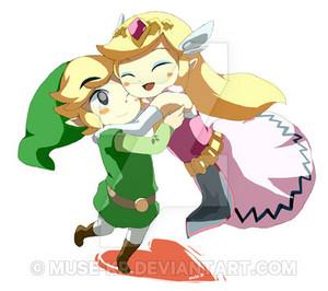 Toon Zelda hugs Toon Link
