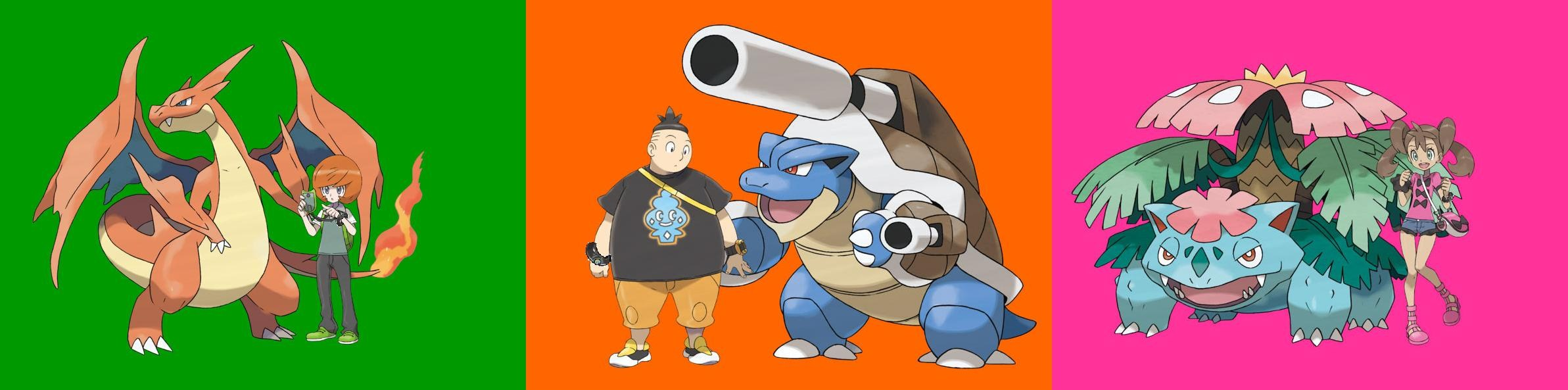 Trevor,Tierno and Shauna with their Mega Evolved Starter Pokemon from the Kanto region.