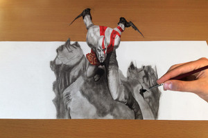 Trick Art, Drawing 3D - God of War