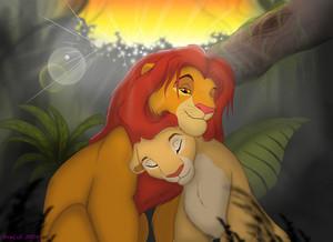 Walt Disney peminat Art - Simba & Nala