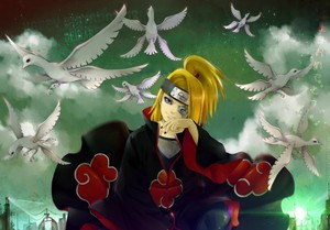 blondes birds Naruto shippuden akatsuki digital art anime boys deidara happy birthday 1700x1183 www.