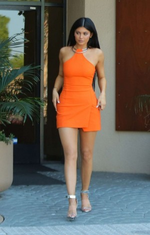 kylie jenner kylie jenner leggy in orange