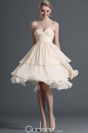 strapless sweetheart empire waist layered cream chiffon cóctel, coctel dress 1