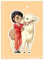 """Michael And Louie The Llama"" - michael-jackson fan art"