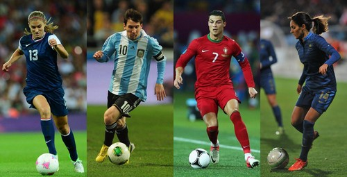 Soccer wallpaper containing a soccer ball entitled Alex Morgan - Lionel Messi - Cristiano Ronaldo - Louisa Necib
