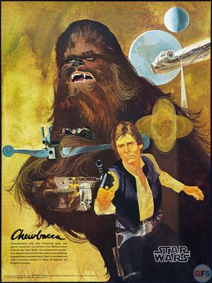 1977 звезда wars coca cola burger chef poster chewbacca han solo