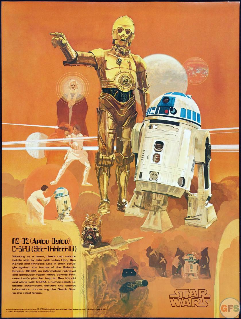 1977 star wars coca cola burger chef poster r2 d2 c 3po