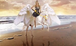 A Beautiful амазонка Warrior riding her Trusty Pegasus конь