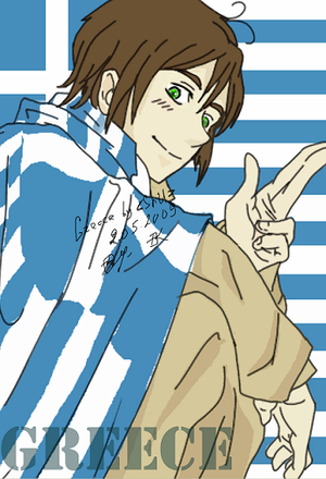 APH Greece with his flag