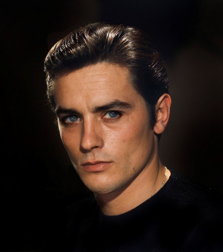 알랭 들롱 바탕화면 with a portrait titled Alain Delon