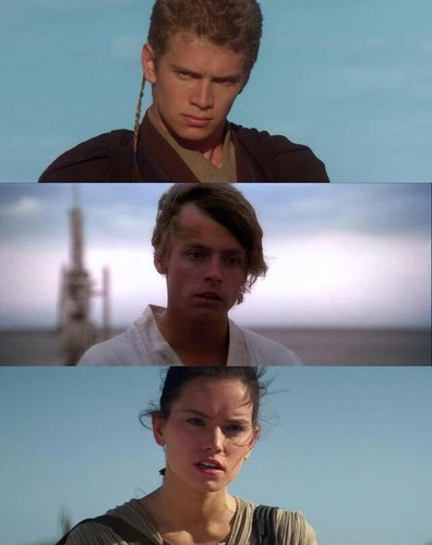 étoile, étoile, star Wars fond d'écran with a portrait entitled Anakin,Luke and Rey