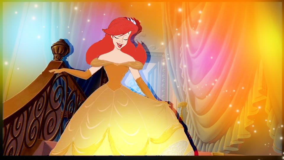 Ariel in Belle's dress