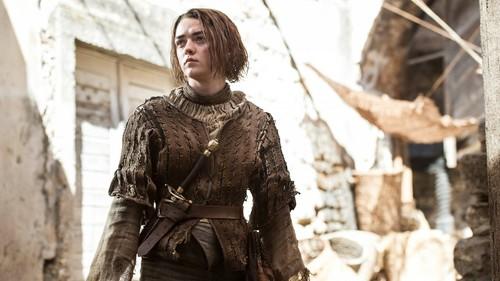Game of Thrones karatasi la kupamba ukuta possibly containing a hip boot and a surcoat titled Arya Stark