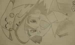 Ash and Pikachu drawing sa pamamagitan ng me.