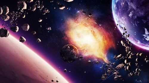 Science News kertas dinding possibly with a api, kebakaran titled Asteroids