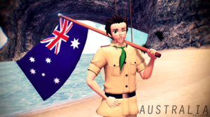 Australia and his flag
