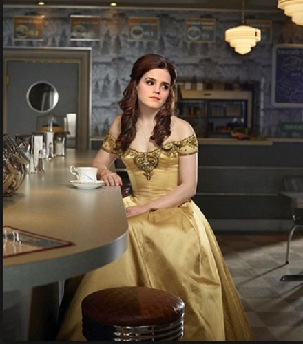 Beauty and the Beast (2017) wallpaper possibly with a bridesmaid, a dinner dress, and a gown entitled Belle