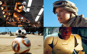 Captain Phasma,Rey,BB-8,Finn (SW:The Force Awakens)