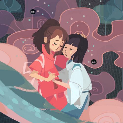 Spirited Away پیپر وال entitled Chihiro and Haku