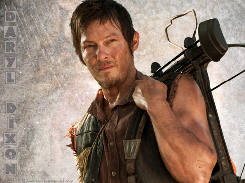 the walking dead wallpaper probably containing a penembak dgn senapan and a green baret titled DARYL DIXON