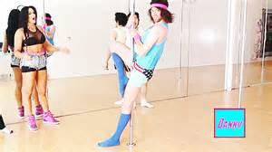 Dan pole dancing.