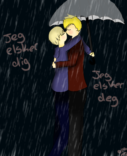 Hetalia Couples! wallpaper possibly with a sign and anime called DenNor In The Rain