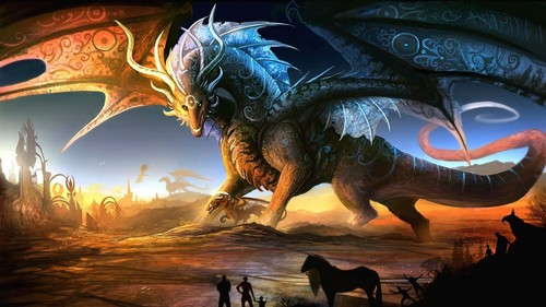 Dragons achtergrond containing a triceratops called Dragon Mother and Baby