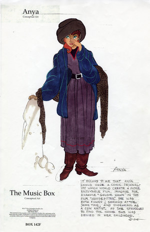 Early Anya character designs for Anastasia