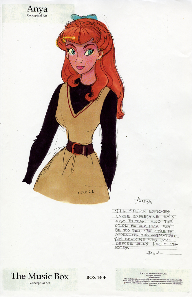 Early Anya character designs for Anastasia