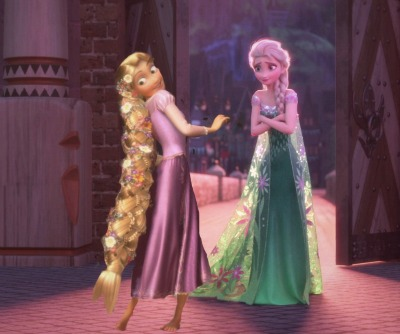 disney crossover پیپر وال probably containing a رات کے کھانے, شام کا کھانا dress and a polonaise, پالونایسی titled Elsa and Rapunzel