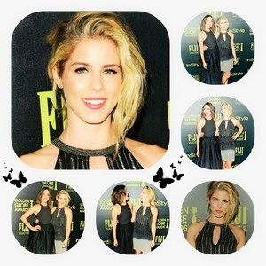 Emily Bett Rickards and Chloe Bennet collage