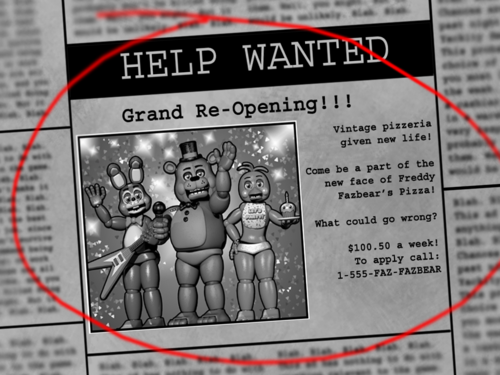 Five Nights at Freddy's kertas dinding with a newspaper and Anime called Fnaf2 newspaper intro