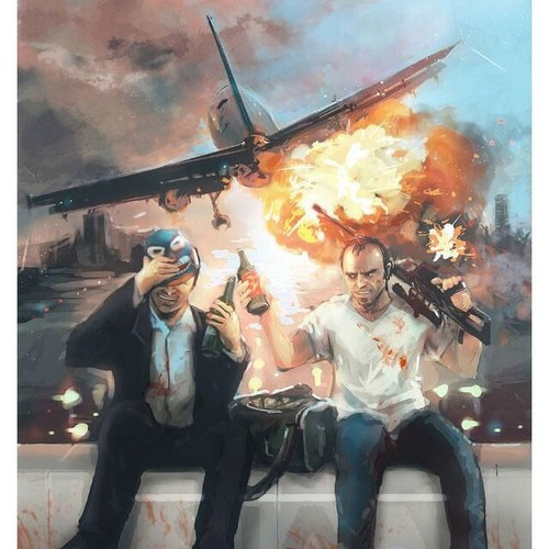 Canada24's club.. achtergrond called GTA V Art 'Michael and Trevor' ~