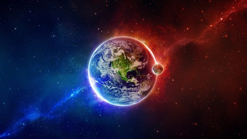Space Wallpaper Titled Glowing Earth