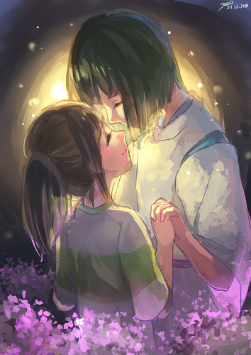 Spirited Away achtergrond called Haku and Chihiro