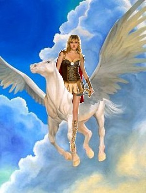 Hot Sexy амазонка Warrior ride on her Beautiful White Pegasus