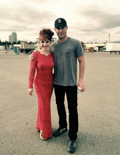 Jensen Ackles wallpaper with a business suit and a carriageway entitled Jensen and Ruth Connell