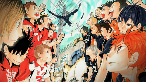 Haikyuu!!(High Kyuu!!) 壁紙 entitled Karasuno vs Nekoma