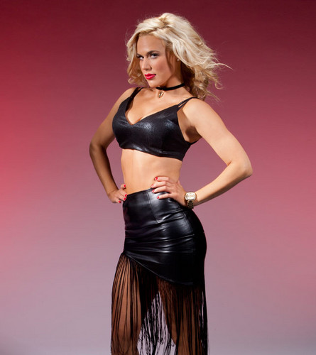 WWE Divas achtergrond possibly containing a bustier, attractiveness, and a cocktail dress titled Lana