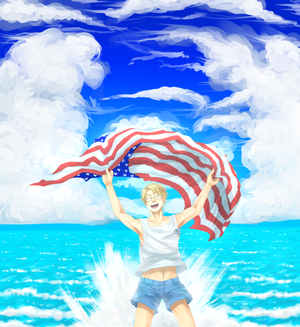 Land Of The Free. America on the water with his flag
